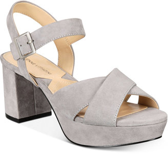 Adrienne Vittadini Powel Block-Heel Platform Sandals Women's Shoes $115 thestylecure.com