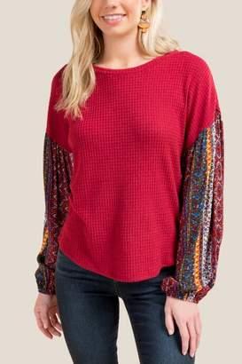 francesca's Rozalynn Ornate Sleeve Top - Brick