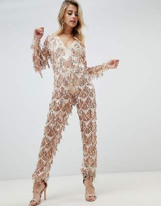 b45af636d8c8 PrettyLittleThing tassel sequin jumpsuit in gold