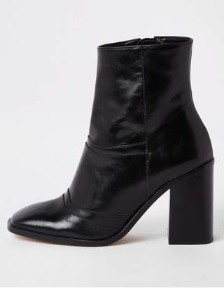 River Island Leather Ankle Boot - Black