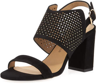 Neiman Marcus Brae Perforated Suede Sandals, Black