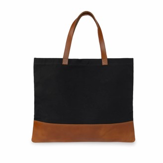 Vida Vida Canvas Leather Black Tan Tote Bag