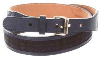 MAISON BOINET Plaid Leather-Trimmed Belt
