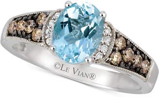 LeVian Le Vian Aquamarine (9/10 ct. t.w. & Diamond (1/4 ct. t.w.) in 14k White Gold