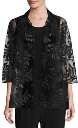 Caroline Rose Petite 3/4-Sleeve Leather Leaf Mesh Jacket, Black