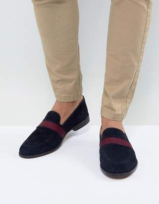 Asos Loafers In Navy Suede With Tape Detail