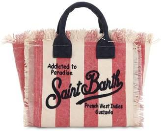 MC2 Saint Barth Striped Logo Embroidered Canvas Bag