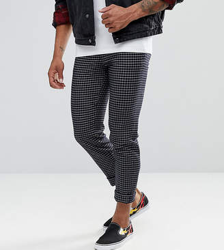 Asos Tall Skinny Crop Smart Trousers In Navy Grid Check