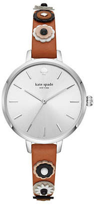 Kate Spade Womens Metro Three-Hand Brown-Leather Watch