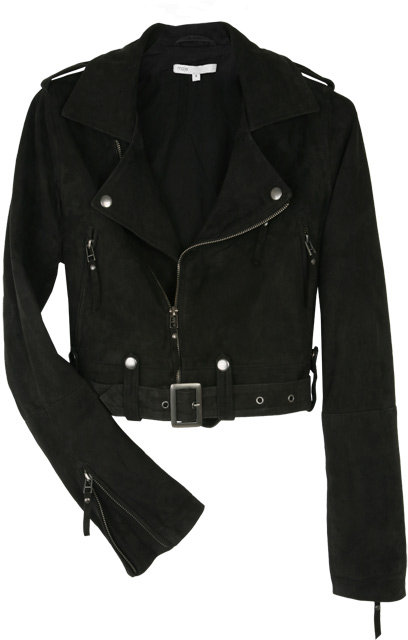 Maje Anthracite Gill Cropped Suede Biker Jacket