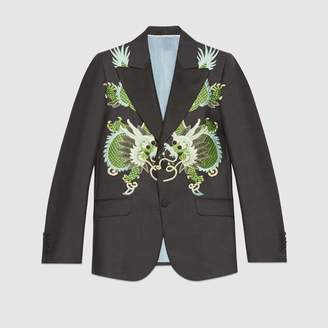 Gucci Heritage wool mohair jacket with dragons