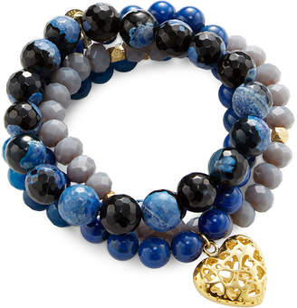 Good Charma Punch Out Heart & Lapis Charm Set Of 4 Bracelets