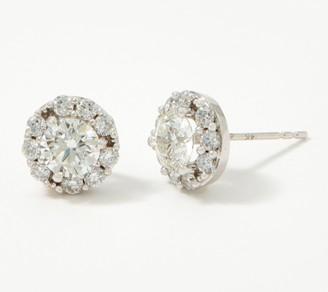 Fire Light Lab Grown Diamond 14K Gold Halo Stud Earrings, 2.00cttw