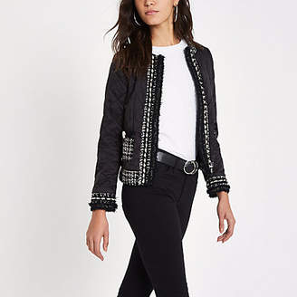 River Island Black pear trim quilted trophy jacket