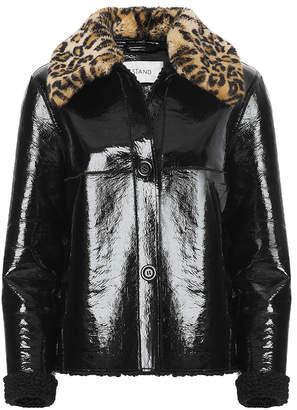 Stand Josephine Faux Fur Collar Patent Coat