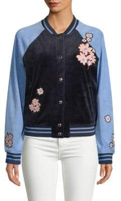 Floral-Patch Velour Bomber Jacket