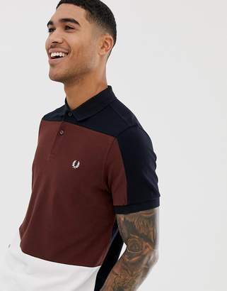 Fred Perry paneled pique polo in navy