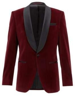 BOSS Hugo Slim-fit velvet dinner jacket silk shawl lapels 42L Dark Purple