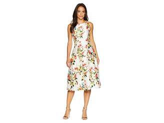 Tahari ASL Floral Print Cocktail Midi Dress
