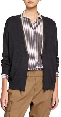 Brunello Cucinelli Cashmere Two-Tone Monili Cardigan Sweater