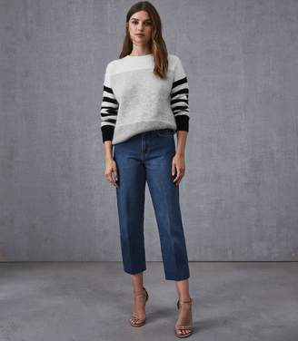 Reiss ADA STRAIGHT CROPPED JEAN Mid Blue