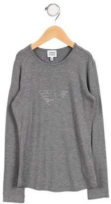 Armani Junior Girls' Embellished Long Sleeve Top