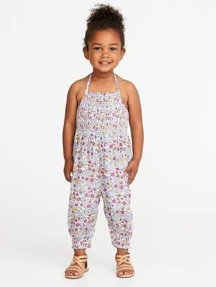 Old Navy Floral-Print Halter Jumpsuit for Toddler Girls