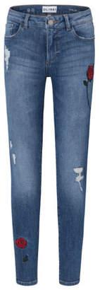 DL1961 Premium Denim Medium Wash Distressed Skinny Jeans w/ Rose Embroidery, Size 7-16