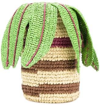 Tsumori Chisato woven palm basket tote