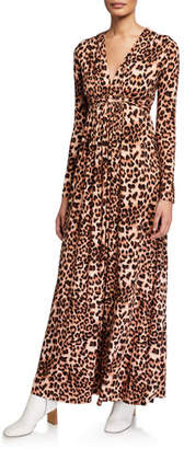 Rachel Pally Leopard-Print Jersey Long-Sleeve Caftan Dress