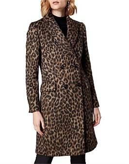 Karen Millen Leopard Prnt Tailored Coat