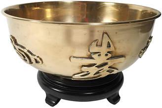 One Kings Lane Vintage Brass Bowl with Asian Symbols & Wood Base - Tobe Reed