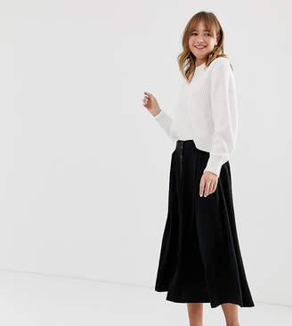 ec5e23dd09 Monki buttoned midi skirt in black
