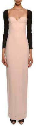 Tom Ford Sweetheart Attached Sleeves Column Evening Gown