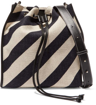 J.W.Anderson Leather-trimmed Striped Canvas Bucket Bag - Black