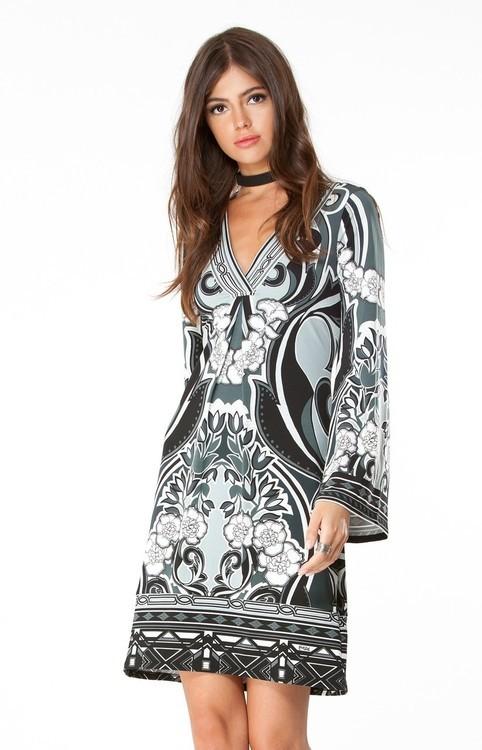 Hale Bob Lotus Nouveau Dress In BlackWhite