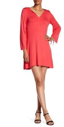 Kensie Split Neck Drawstring Sleeve Dress