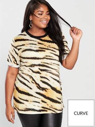 V By Very Curve Tiger Print T-Shirt - Printed 925239ab48