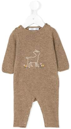 Knot Bambi embroidered knitted romper