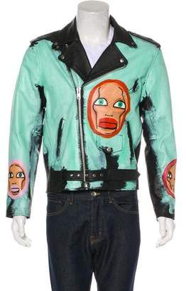 Karl Lagerfeld Patrick Church x Muse0 Hand-Painted Leather Moto Jacket Self-Portrait w/ Tags