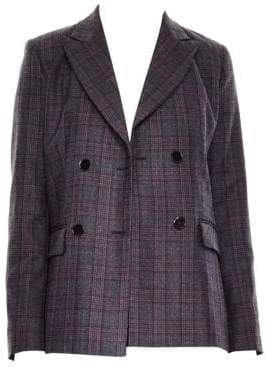 Sandro Oscar Double Breasted Plaid Jacket