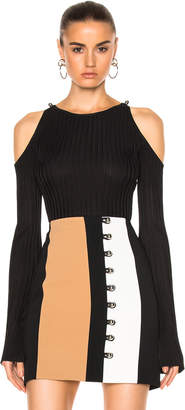 David Koma Rib Knit Open Shoulder Long Sleeve Pullover $669 thestylecure.com