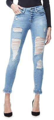 Good American Good Legs Fray Ankle Skinny Jeans