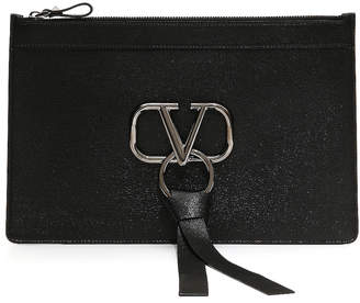 Valentino Large V Ring Flat Pouch in Black | FWRD