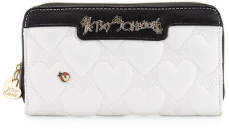 Betsey Johnson Bee Mine Heart-Quilted Wallet, White $55 thestylecure.com