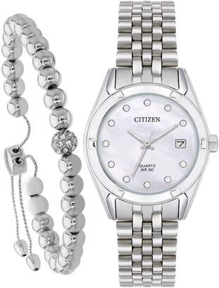 Citizen Swarovski® Crystal Mother-of-Pearl Dial Stainless Steel Bracelet Ladies Gift Set