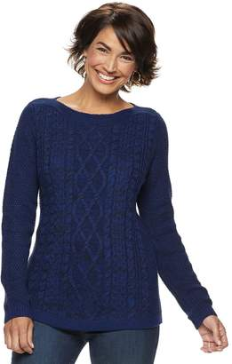Croft & Barrow Petite Cable-Knit Boatneck Sweater