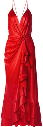 Johanna Ortiz - Pefumero Ruffled Silk-satin Wrap Gown - Red