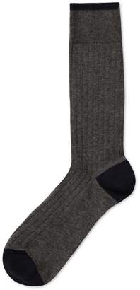 Charles Tyrwhitt Grey Marl Plain Cotton Rib Socks Size Large
