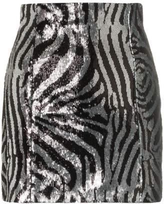 Halpern zebra print sequin embellished mini skirt